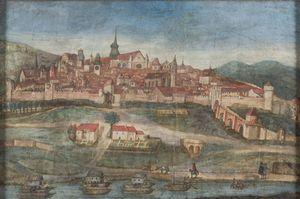 Perspective de la ville d'Agen vue du fauxbour du Pasage faite en MDCXLVIII [1648]
