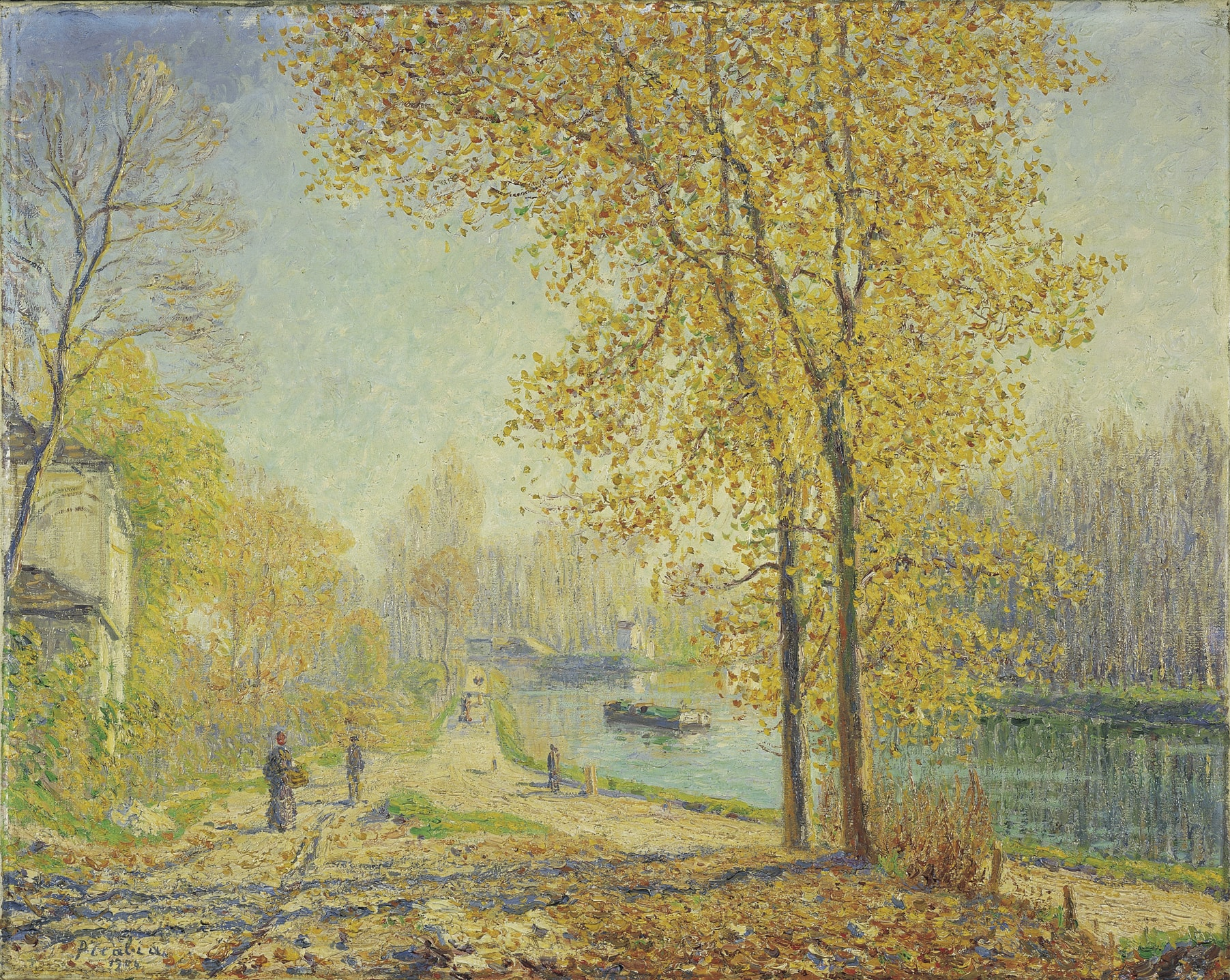 Les bords du Loing ; effet d'automne le matin à Moret