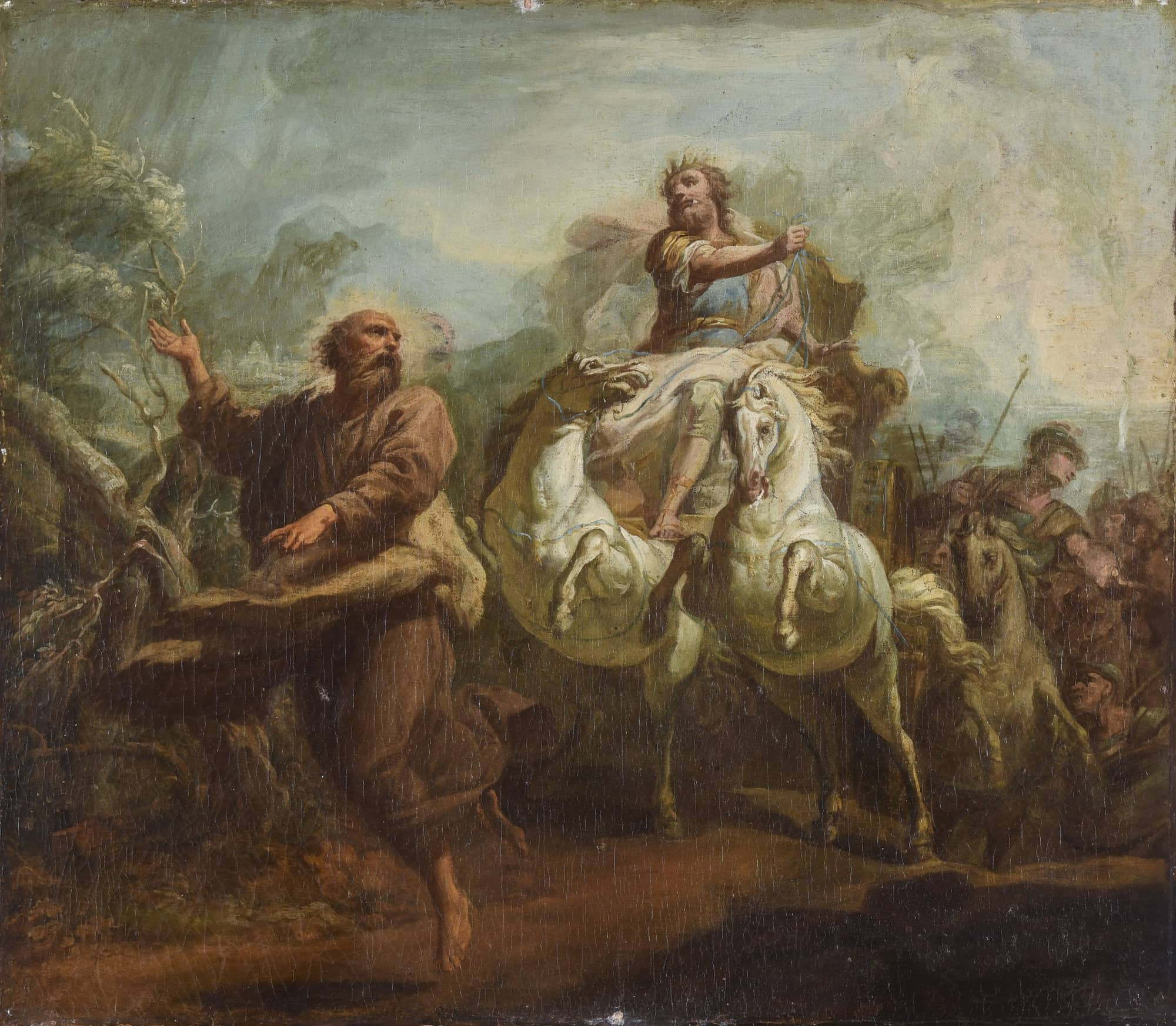 Elie précédant Achab vers Izréel pour annoncer la fin de la sécheresse